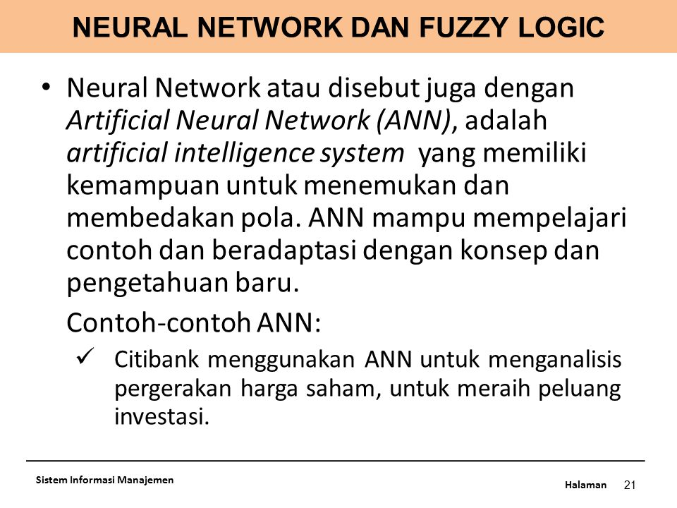 NEURAL NETWORK DAN FUZZY LOGIC