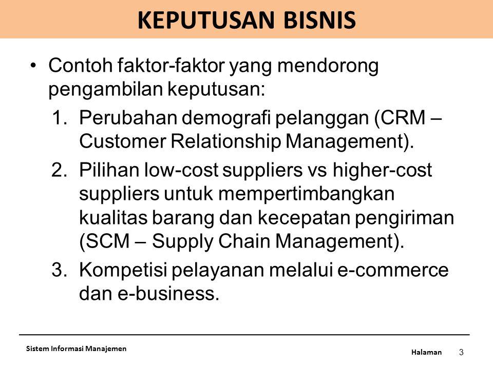 KEPUTUSAN BISNIS Contoh faktor-faktor yang mendorong pengambilan keputusan: Perubahan demografi pelanggan (CRM – Customer Relationship Management).