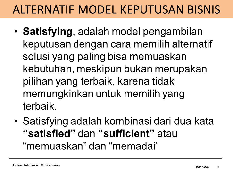 ALTERNATIF MODEL KEPUTUSAN BISNIS