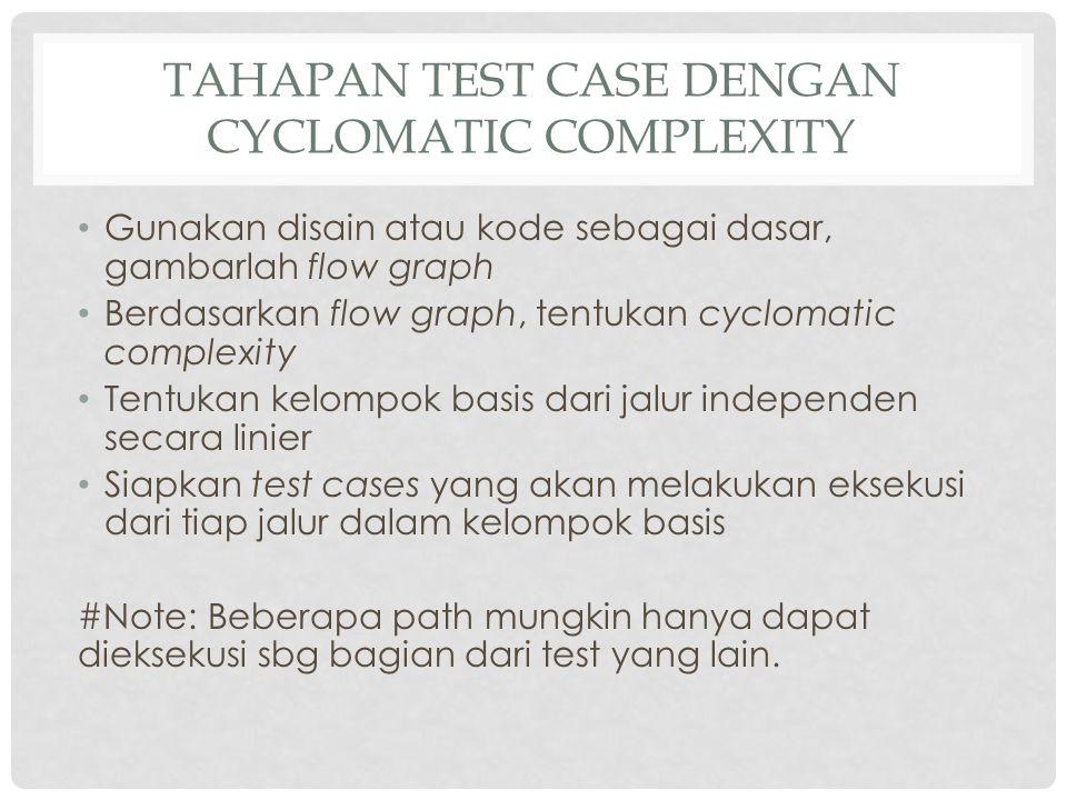 Tahapan test case dengan cyclomatic complexity