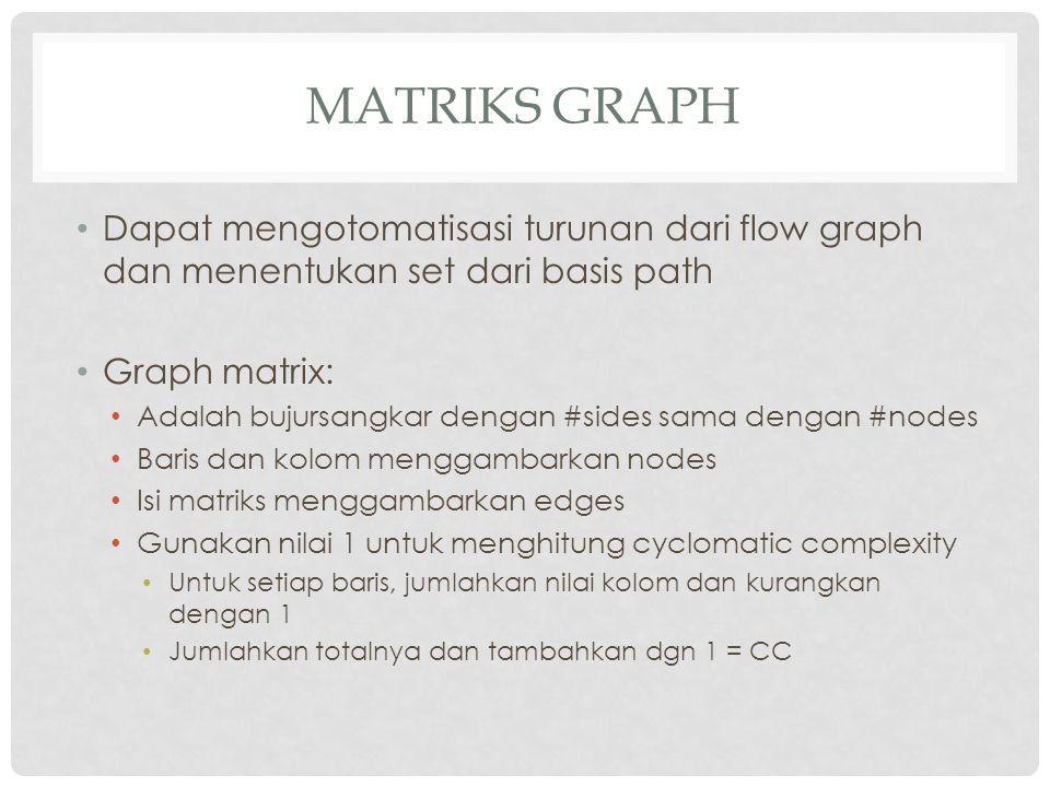 Matriks Graph Dapat mengotomatisasi turunan dari flow graph dan menentukan set dari basis path. Graph matrix:
