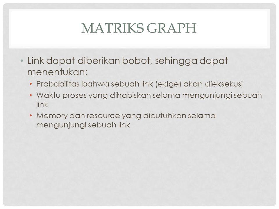 Matriks Graph Link dapat diberikan bobot, sehingga dapat menentukan: