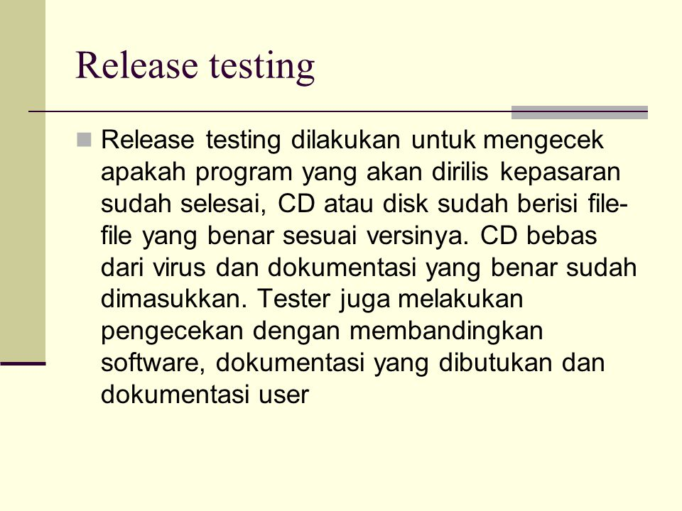 Release testing