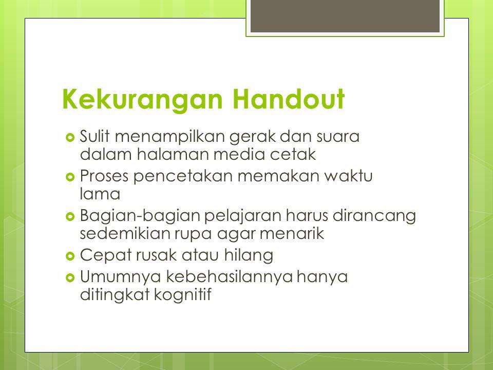 Kekurangan Handout Sulit menampilkan gerak dan suara dalam halaman media cetak. Proses pencetakan memakan waktu lama.