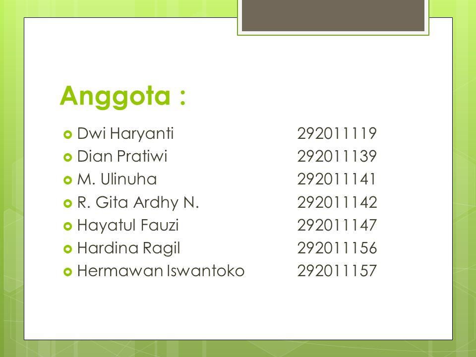 Anggota : Dwi Haryanti 292011119 Dian Pratiwi 292011139
