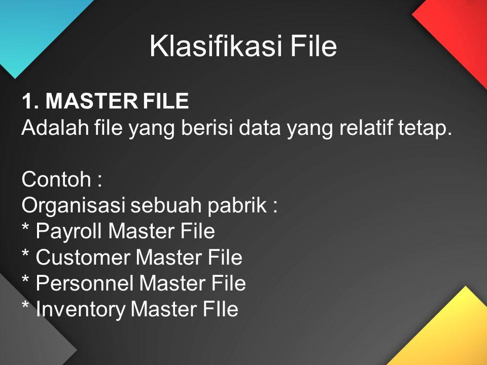 Klasifikasi File 1. MASTER FILE