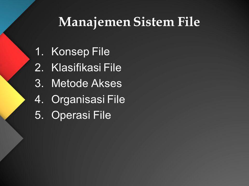 Manajemen Sistem File Konsep File Klasifikasi File Metode Akses