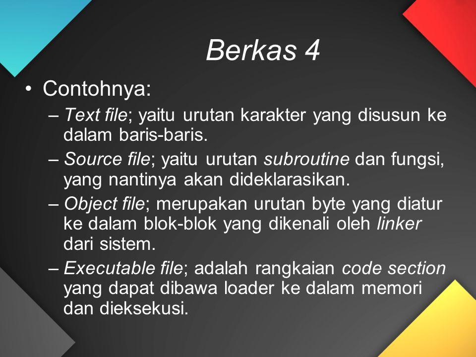 Berkas 4 Contohnya: Text file; yaitu urutan karakter yang disusun ke dalam baris-baris.