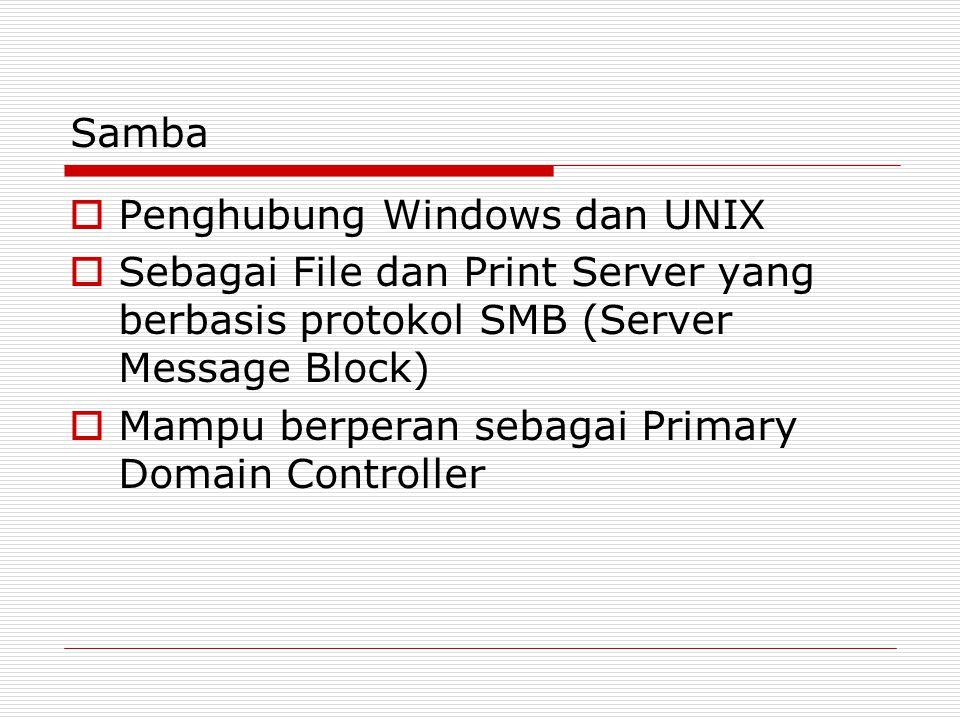 Samba Penghubung Windows dan UNIX. Sebagai File dan Print Server yang berbasis protokol SMB (Server Message Block)