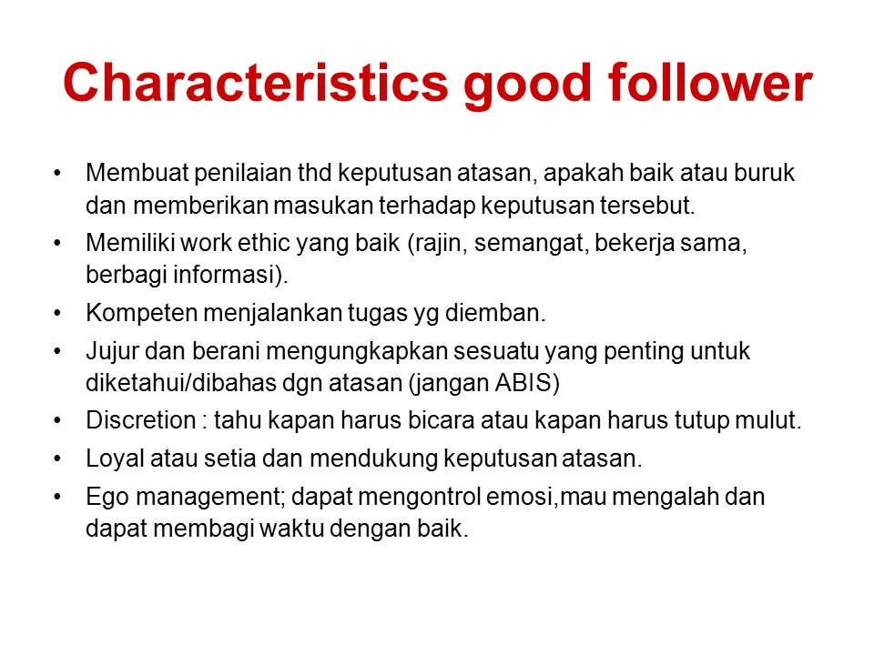 Characteristics good follower