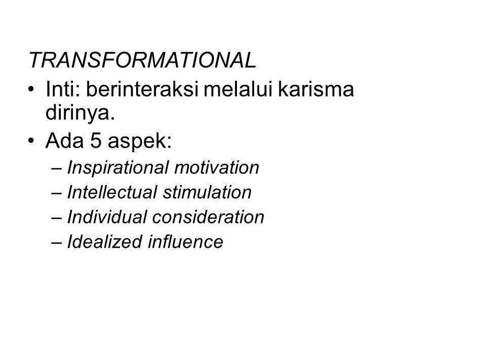 Inti: berinteraksi melalui karisma dirinya. Ada 5 aspek: