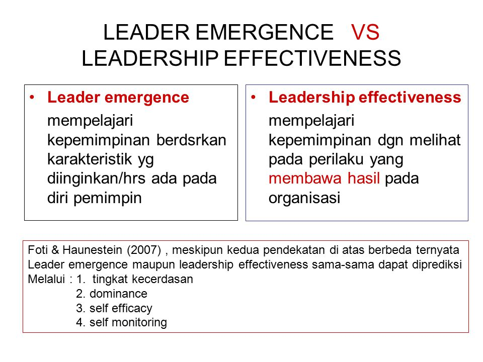 LEADER EMERGENCE VS LEADERSHIP EFFECTIVENESS