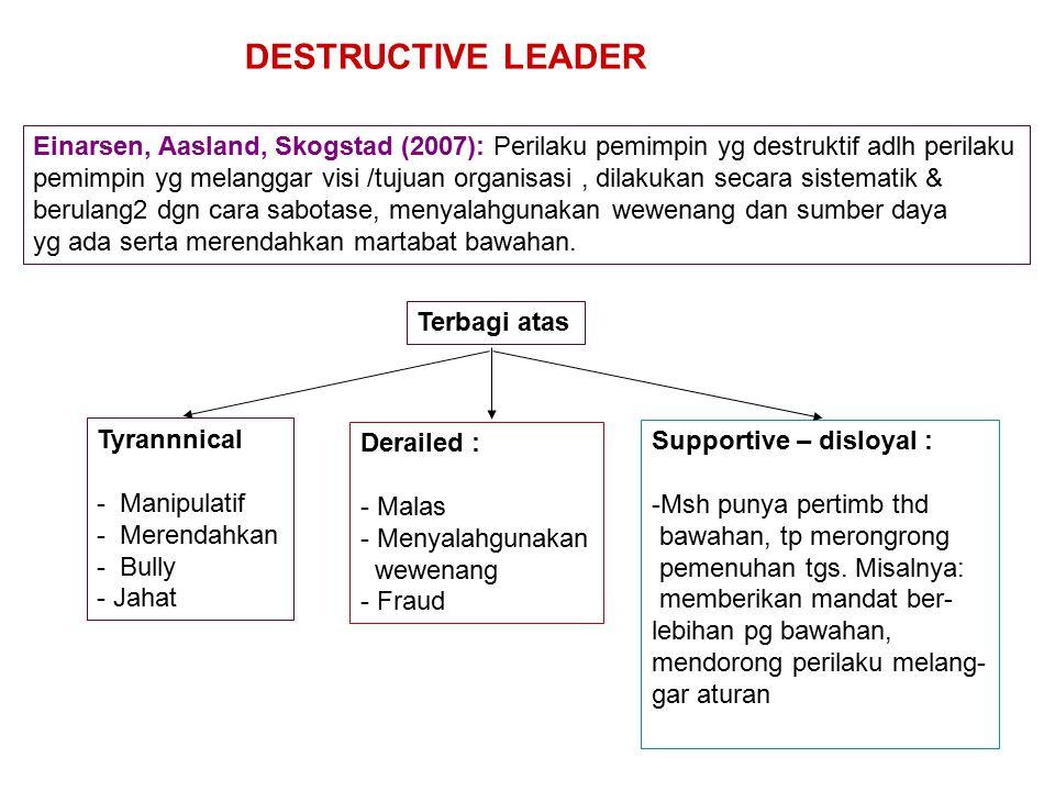 DESTRUCTIVE LEADER Einarsen, Aasland, Skogstad (2007): Perilaku pemimpin yg destruktif adlh perilaku.