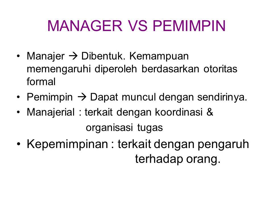 MANAGER VS PEMIMPIN Manajer  Dibentuk. Kemampuan memengaruhi diperoleh berdasarkan otoritas formal.