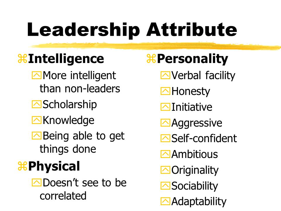 Leadership Attribute Intelligence Physical Personality