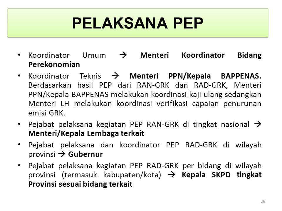 PELAKSANA PEP Koordinator Umum  Menteri Koordinator Bidang Perekonomian.