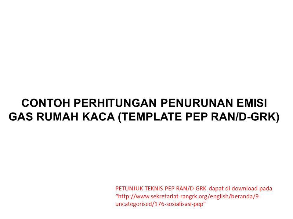 CONTOH PERHITUNGAN PENURUNAN EMISI GAS RUMAH KACA (TEMPLATE PEP RAN/D-GRK)