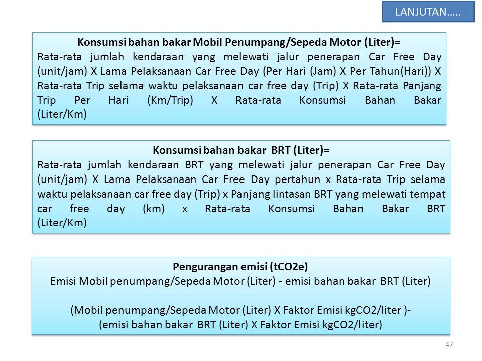 Konsumsi bahan bakar Mobil Penumpang/Sepeda Motor (Liter)=