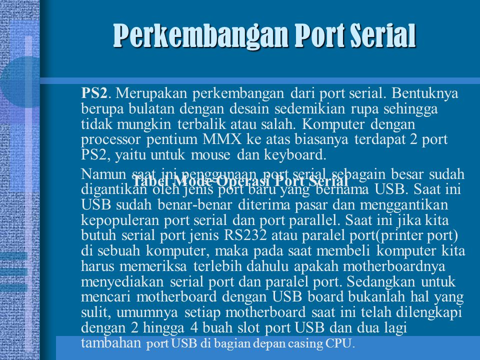 Perkembangan Port Serial
