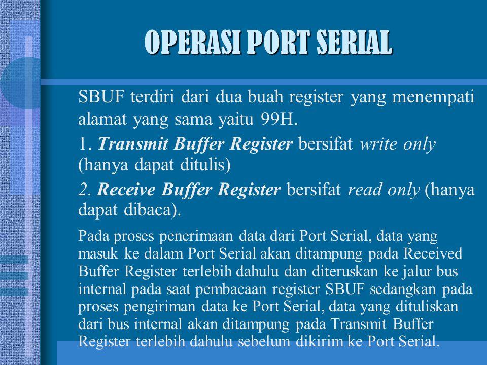 OPERASI PORT SERIAL SBUF terdiri dari dua buah register yang menempati alamat yang sama yaitu 99H.