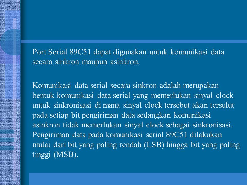 Port Serial 89C51 dapat digunakan untuk komunikasi data secara sinkron maupun asinkron.