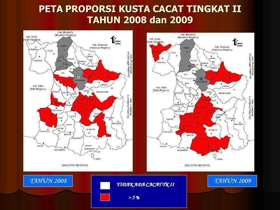 PETA PROPORSI KUSTA CACAT TINGKAT II TAHUN 2008 dan 2009