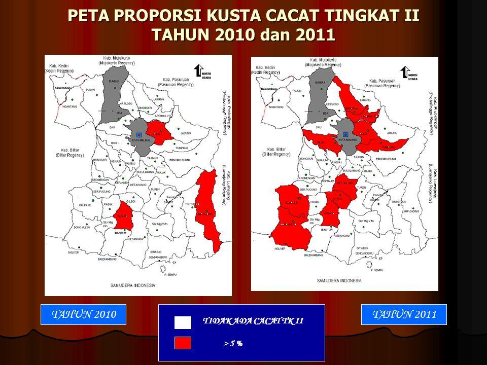 PETA PROPORSI KUSTA CACAT TINGKAT II TAHUN 2010 dan 2011