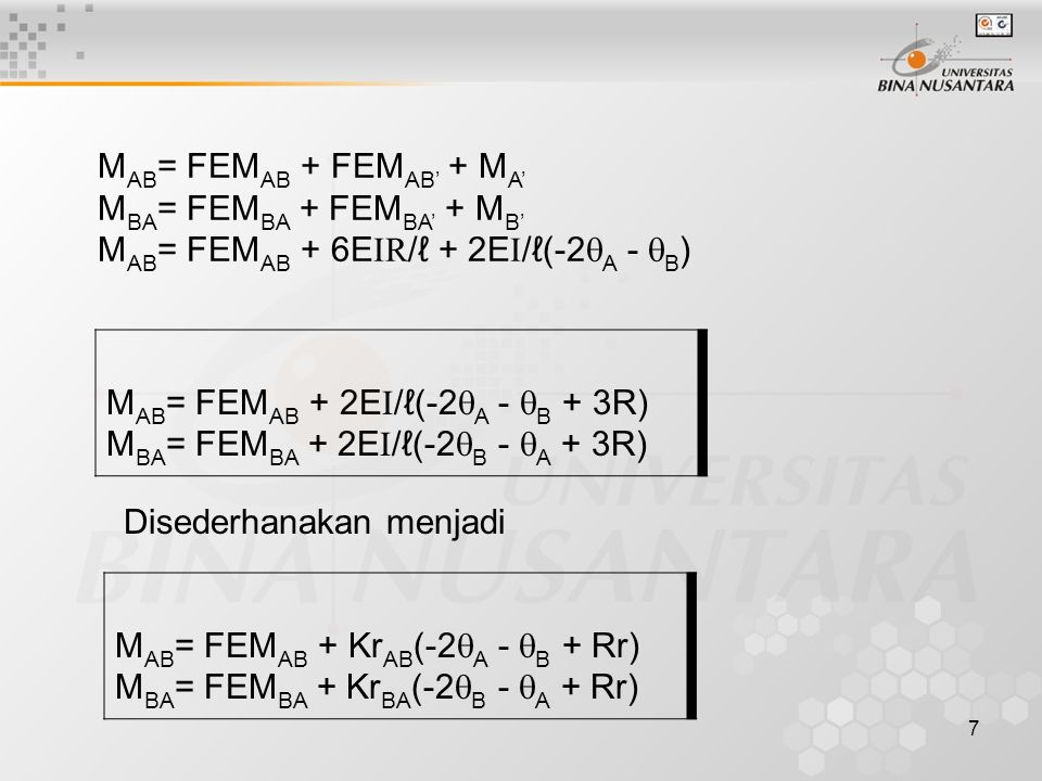 MAB= FEMAB + FEMAB' + MA'
