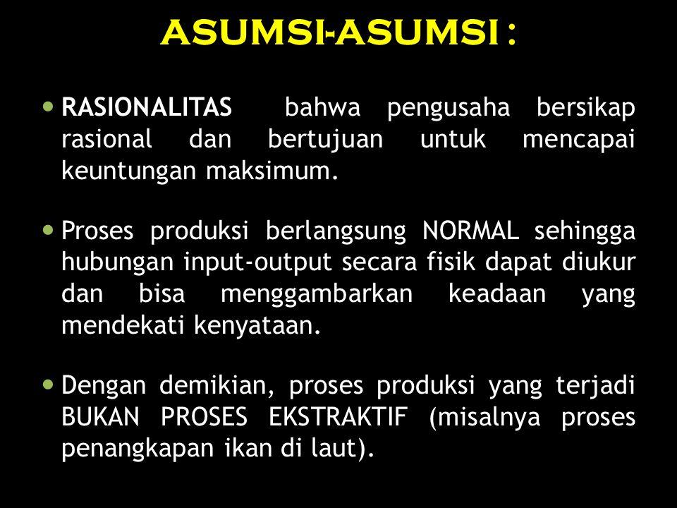 ASUMSI-ASUMSI : RASIONALITAS bahwa pengusaha bersikap rasional dan bertujuan untuk mencapai keuntungan maksimum.