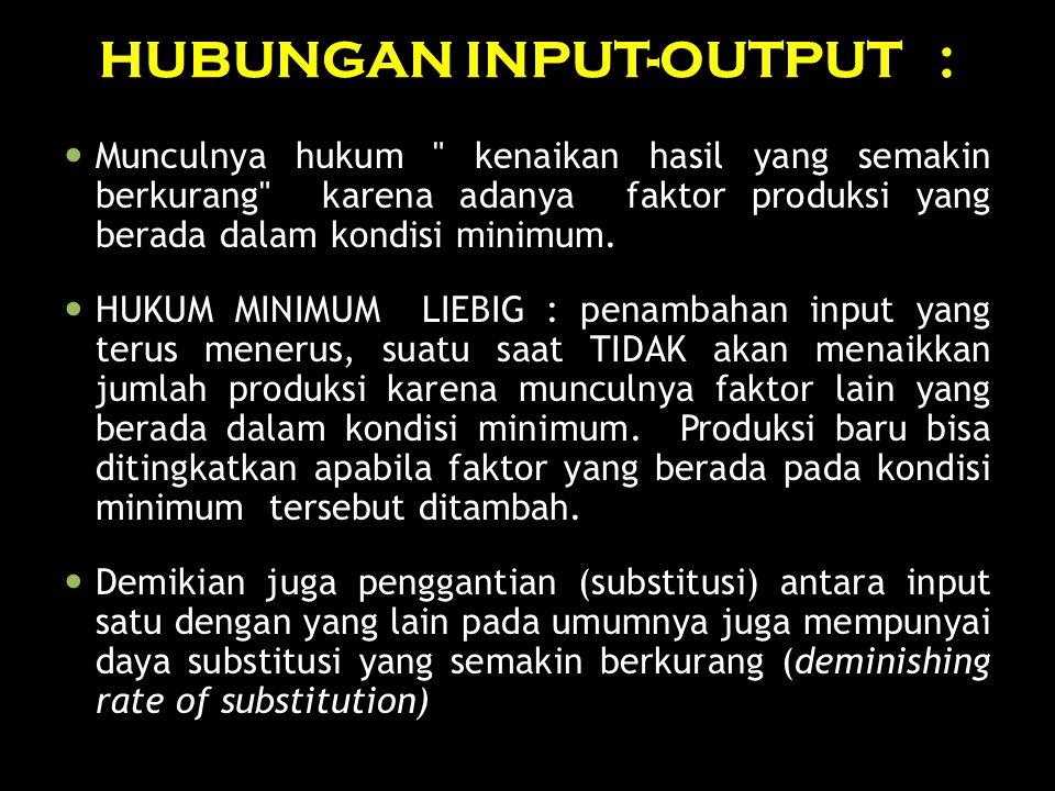 HUBUNGAN INPUT-OUTPUT :