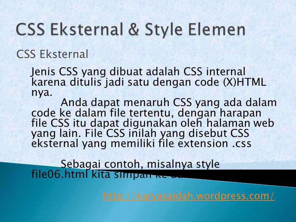 CSS Eksternal & Style Elemen