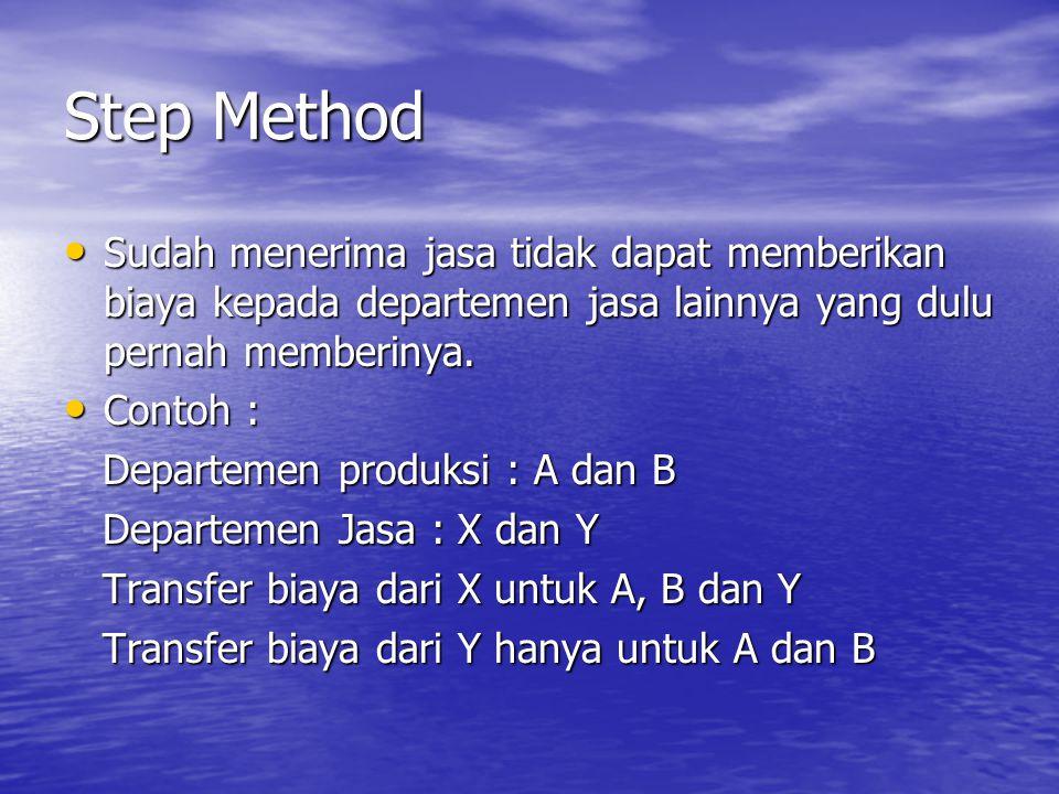 Step Method Sudah menerima jasa tidak dapat memberikan biaya kepada departemen jasa lainnya yang dulu pernah memberinya.