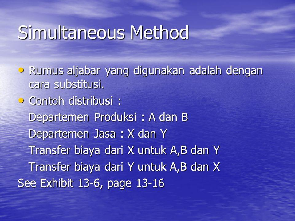 Simultaneous Method Rumus aljabar yang digunakan adalah dengan cara substitusi. Contoh distribusi :