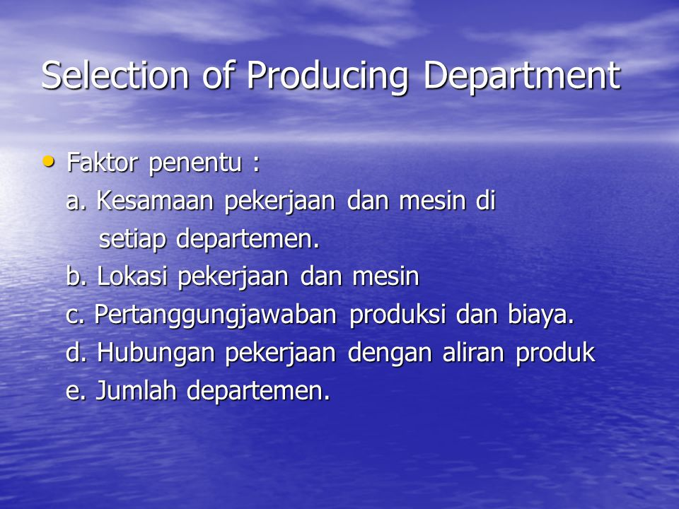 Selection of Producing Department
