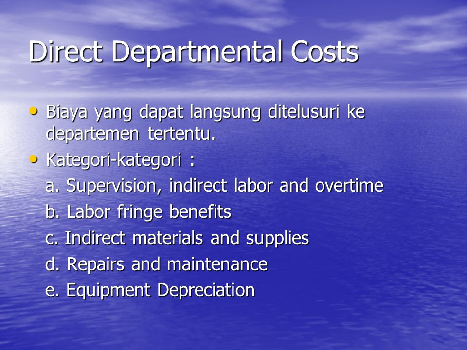 Direct Departmental Costs