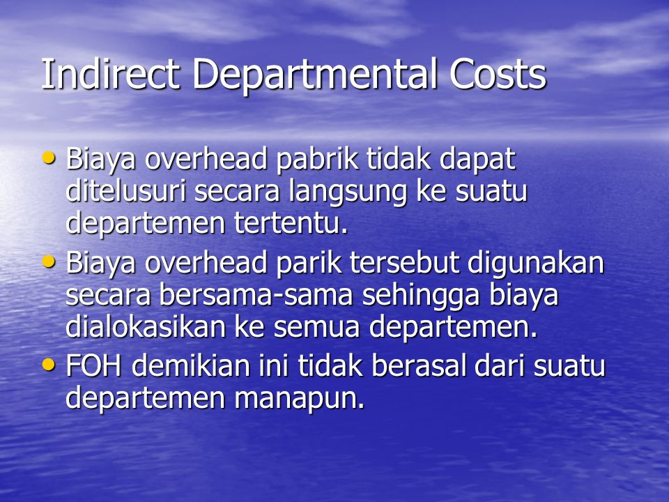 Indirect Departmental Costs