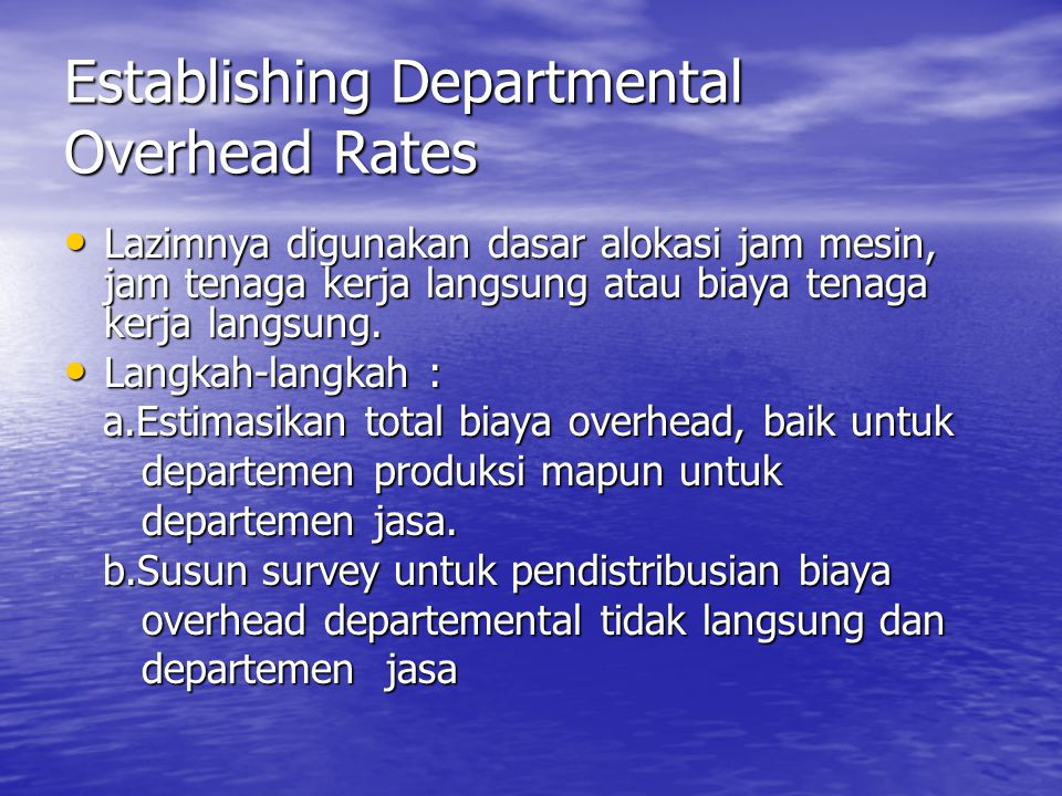 Establishing Departmental Overhead Rates