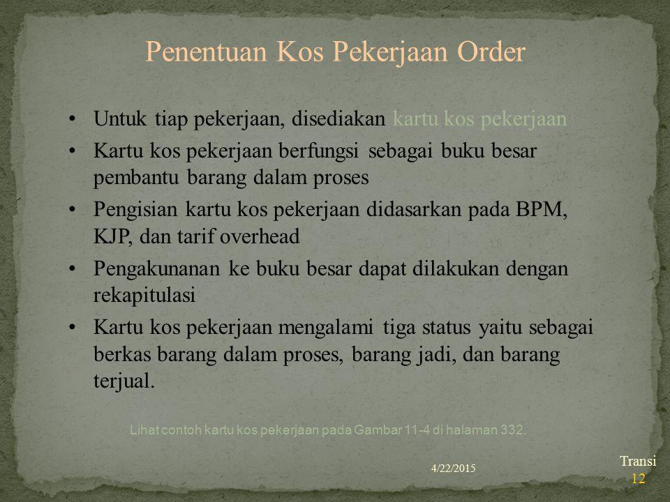 Penentuan Kos Pekerjaan Order
