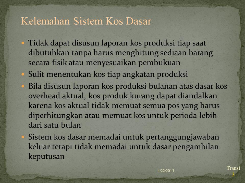 Kelemahan Sistem Kos Dasar