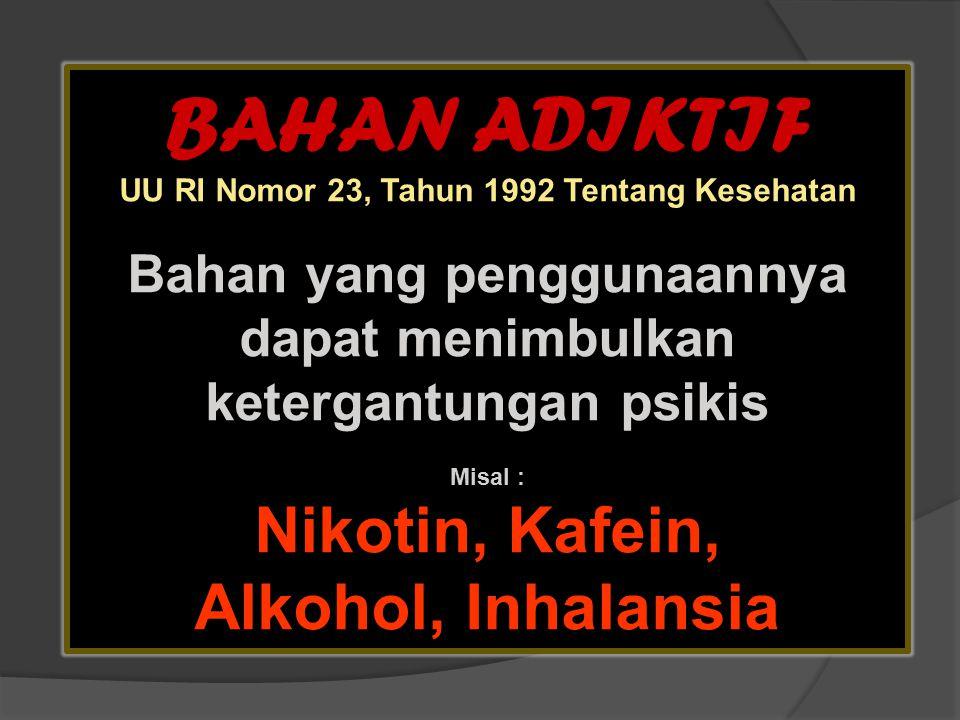 BAHAN ADIKTIF Nikotin, Kafein, Alkohol, Inhalansia