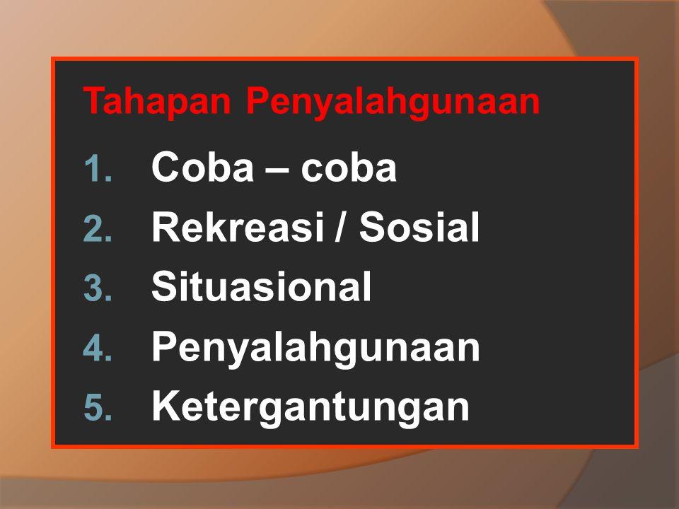 Coba – coba Rekreasi / Sosial Situasional Penyalahgunaan