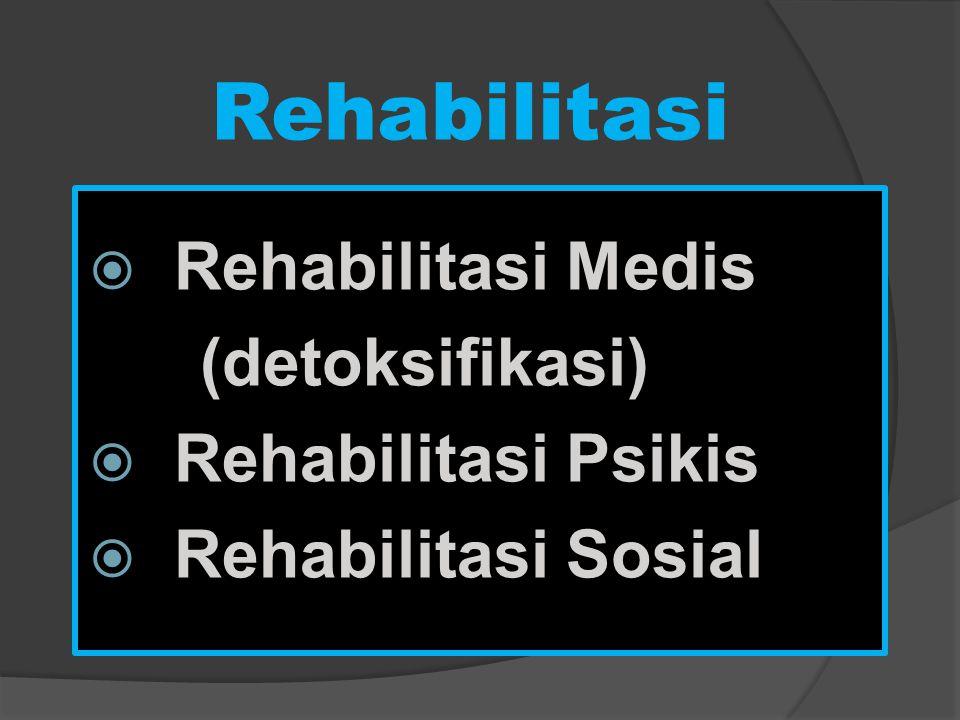 Rehabilitasi Rehabilitasi Medis (detoksifikasi) Rehabilitasi Psikis