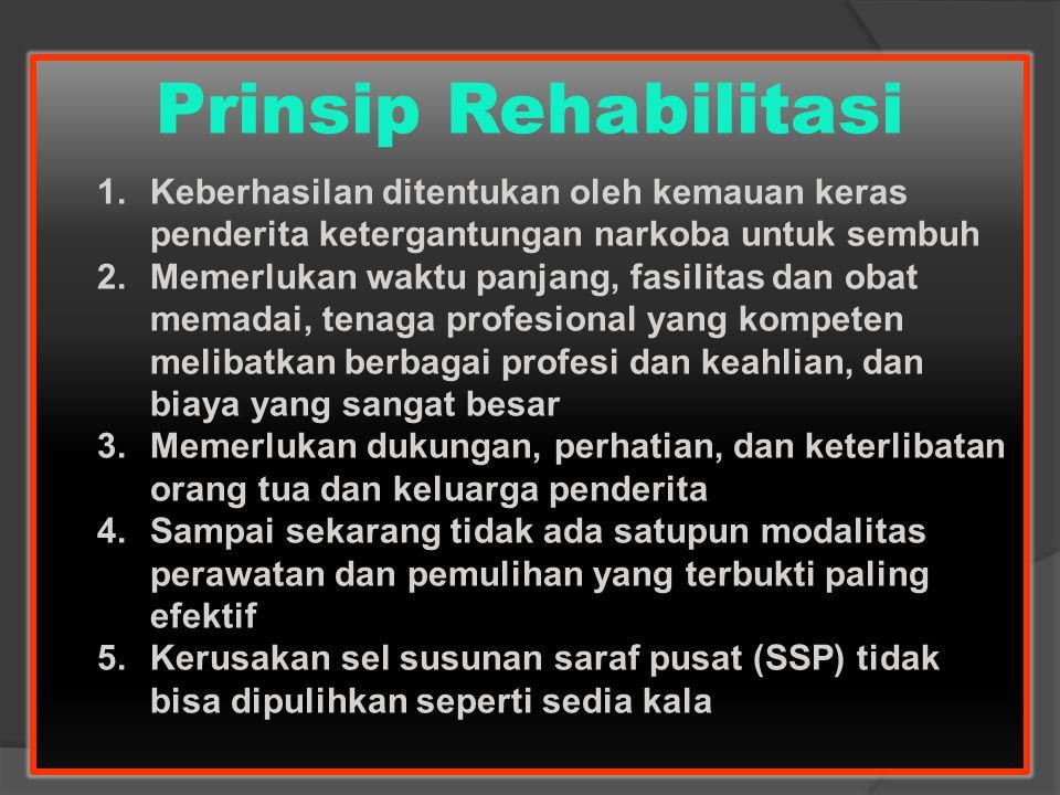 Prinsip Rehabilitasi Keberhasilan ditentukan oleh kemauan keras penderita ketergantungan narkoba untuk sembuh.
