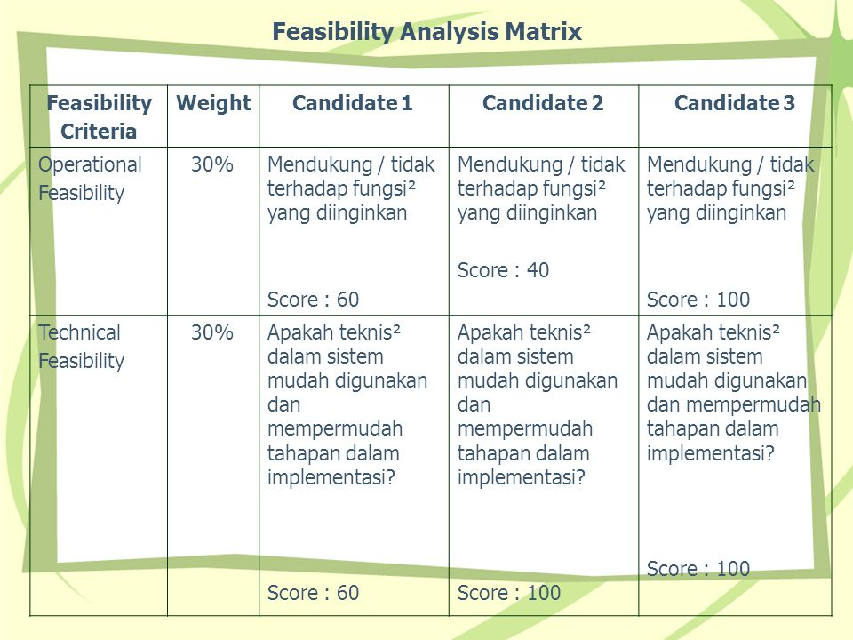 Feasibility Analysis Matrix