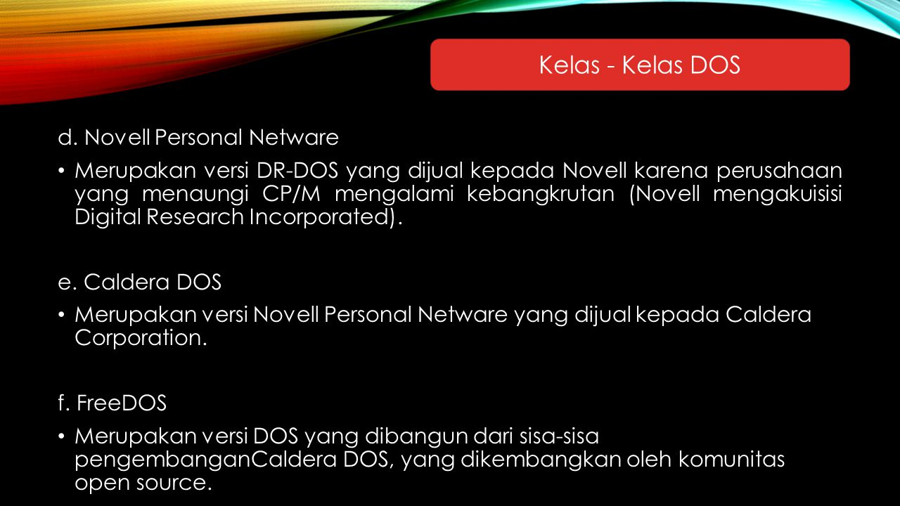 Kelas - Kelas DOS d. Novell Personal Netware