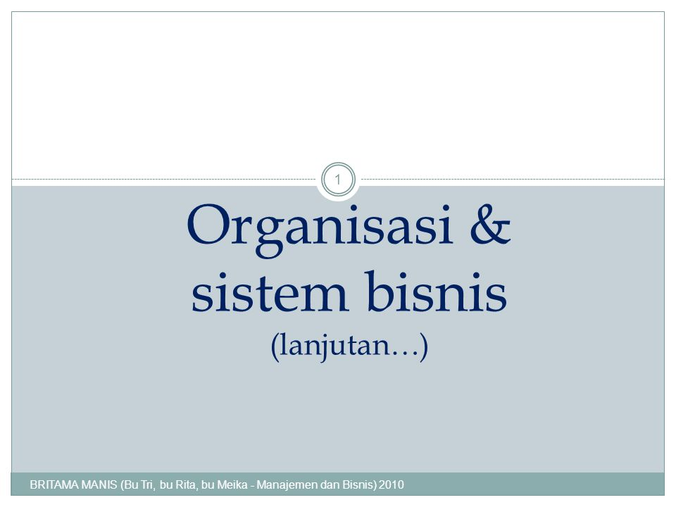 Organisasi & sistem bisnis (lanjutan…)