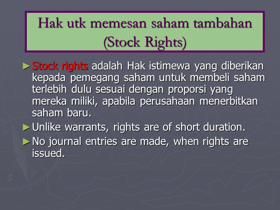 Hak utk memesan saham tambahan (Stock Rights)