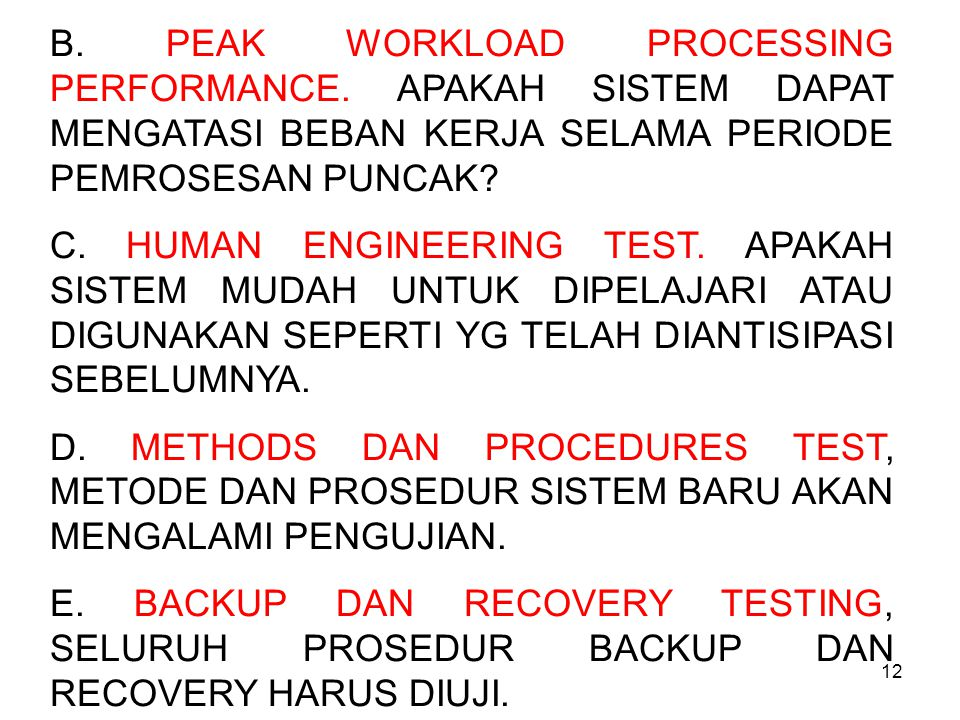 B. PEAK WORKLOAD PROCESSING PERFORMANCE