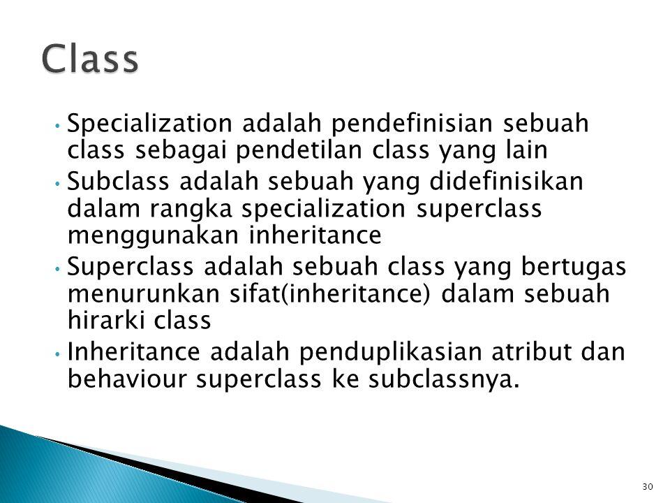 Class Specialization adalah pendefinisian sebuah class sebagai pendetilan class yang lain.