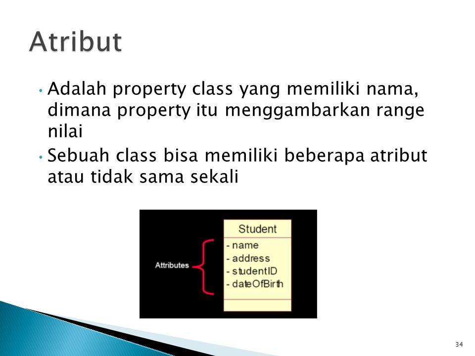 Atribut Adalah property class yang memiliki nama, dimana property itu menggambarkan range nilai.